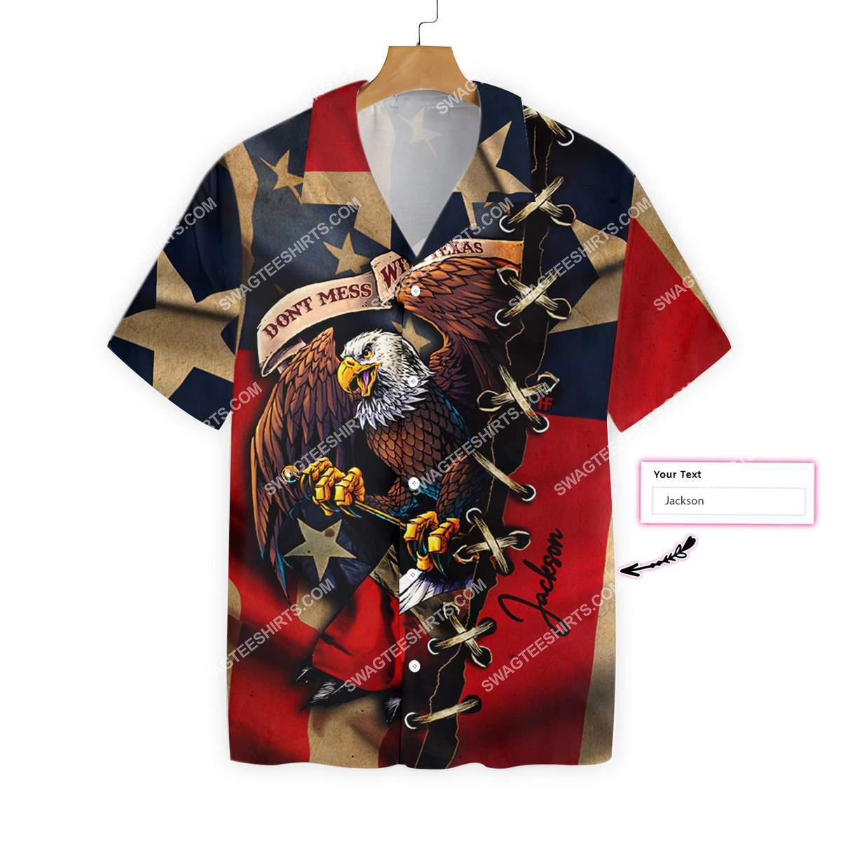 custom name eagle american flag dont mess with texas all over printed hawaiian shirt 3(1)
