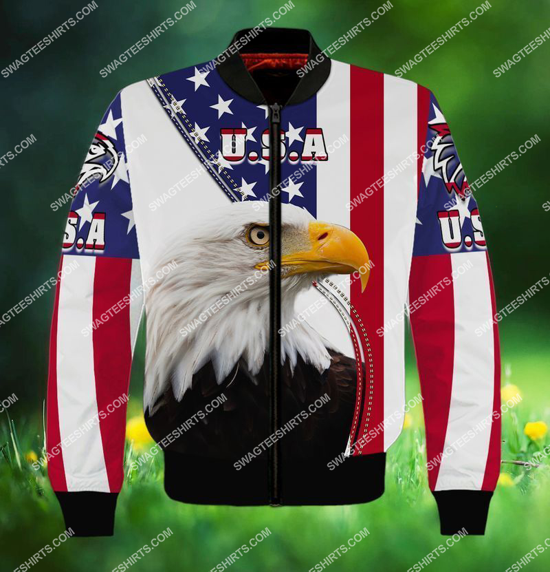 eagle with american flag happy 4th of july full print bomber 1