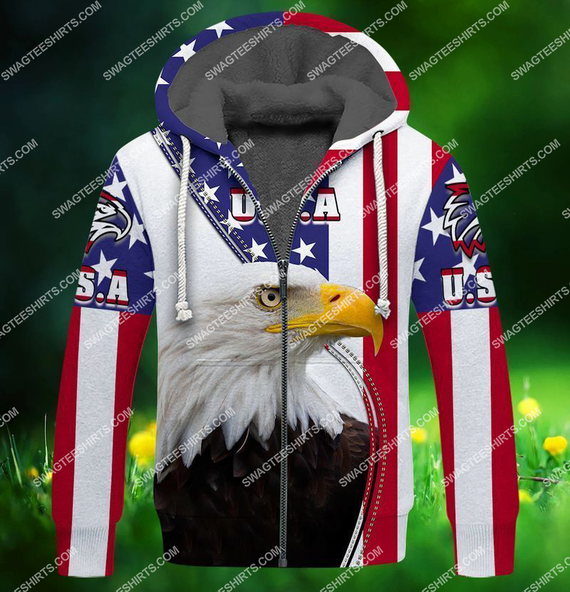 eagle with american flag happy 4th of july full print fleece hoodie 1
