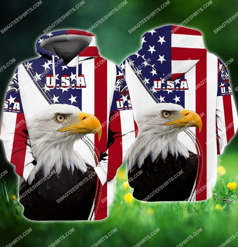 eagle with american flag happy 4th of july full print hoodie 1