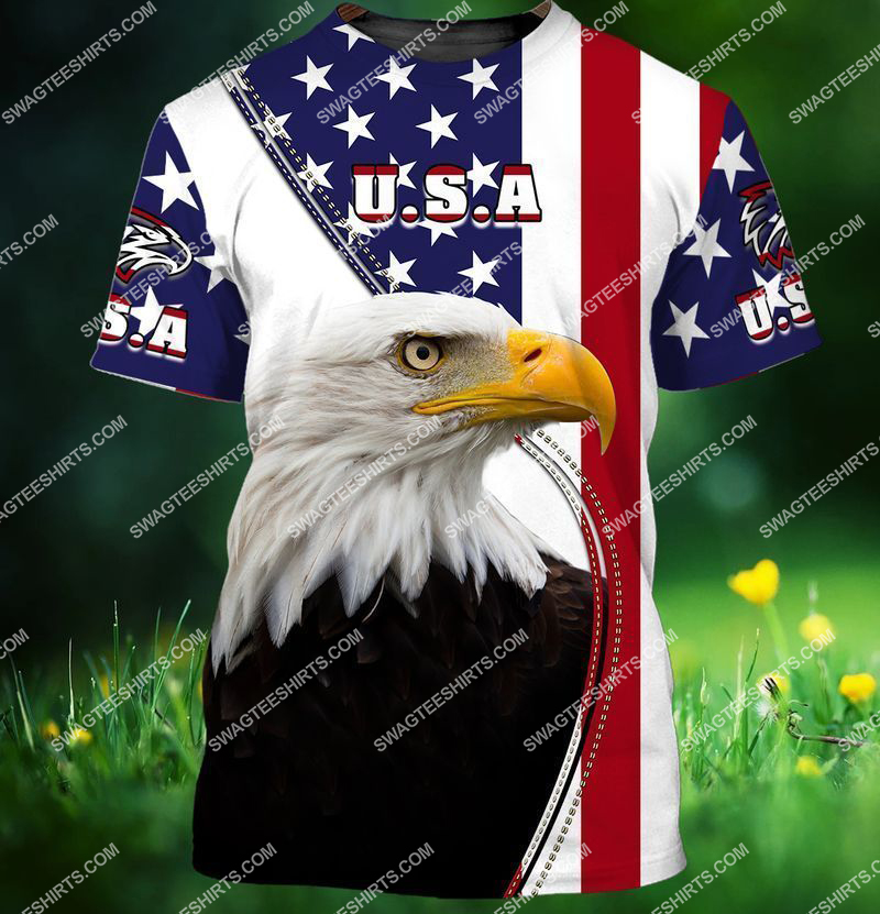 eagle with american flag happy 4th of july full print tshirt 1