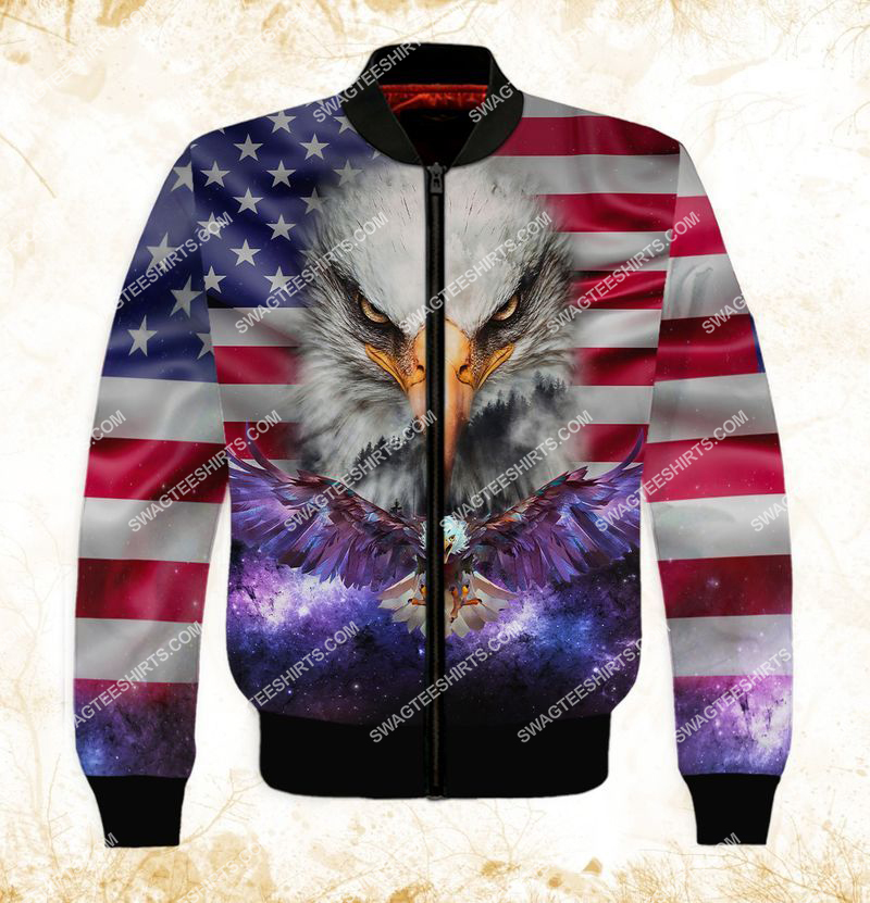 eagle with american flag happy independence day full print bomber 1