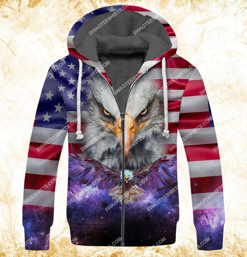 eagle with american flag happy independence day full print fleece hoodie 1