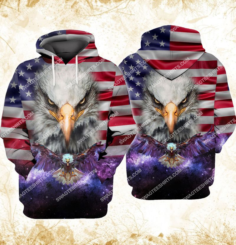 eagle with american flag happy independence day full print hoodie 1