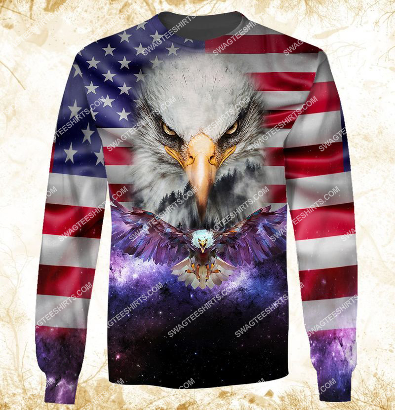 eagle with american flag happy independence day full print sweatshirt 1