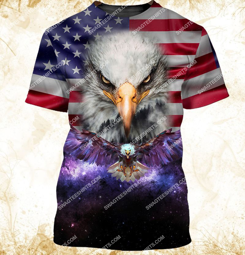 eagle with american flag happy independence day full print tshirt 1