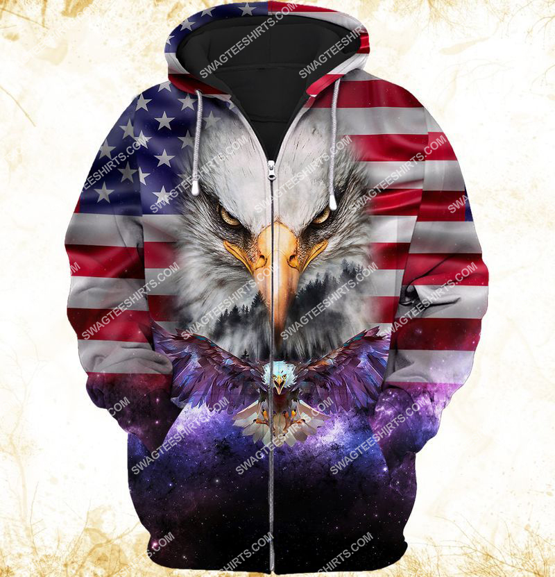 eagle with american flag happy independence day full print zip hoodie 1