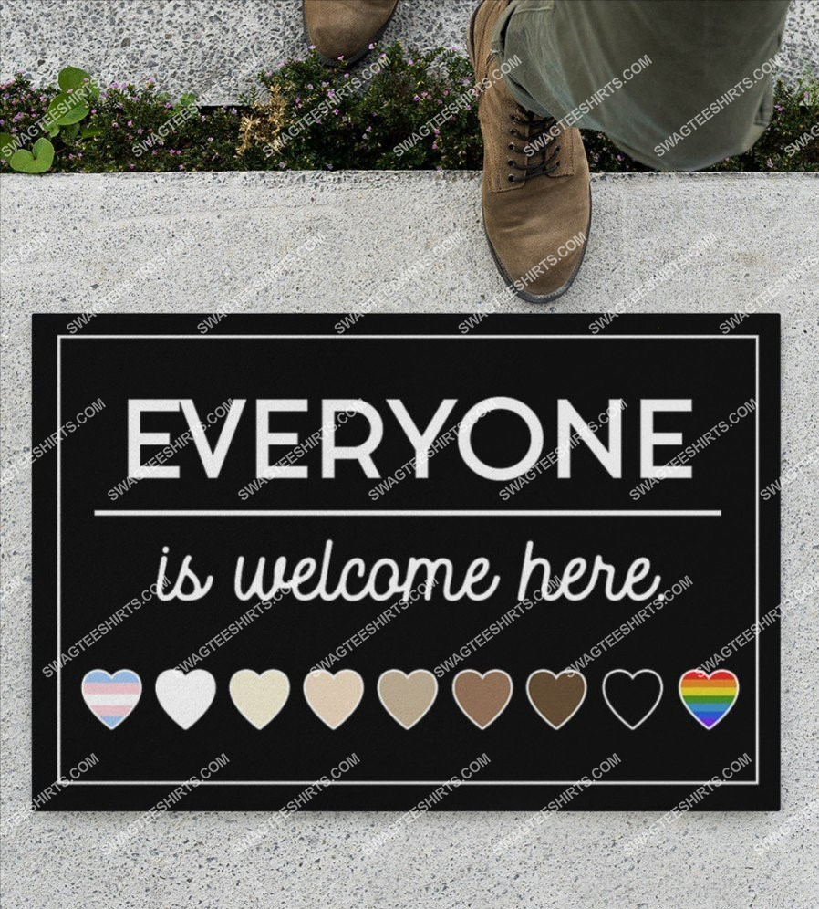 everyone is welcome here black and proud lgbt full print doormat 2(3) - Copy