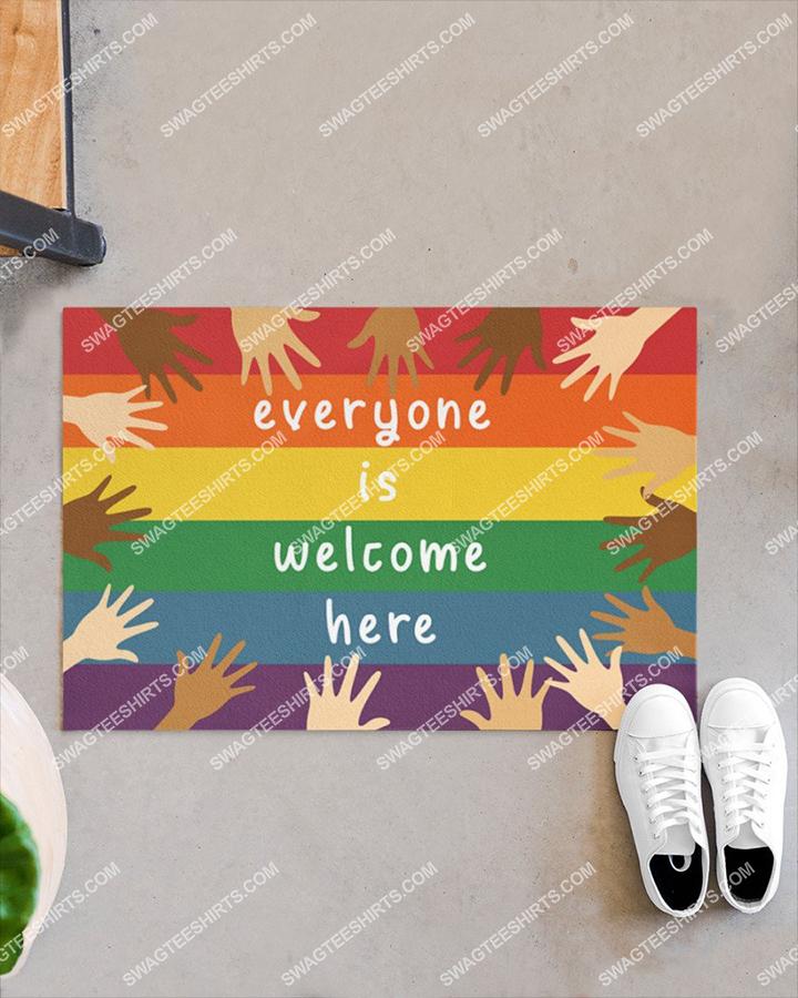 everyone is welcome here diversity hands up full print doormat 2(1)