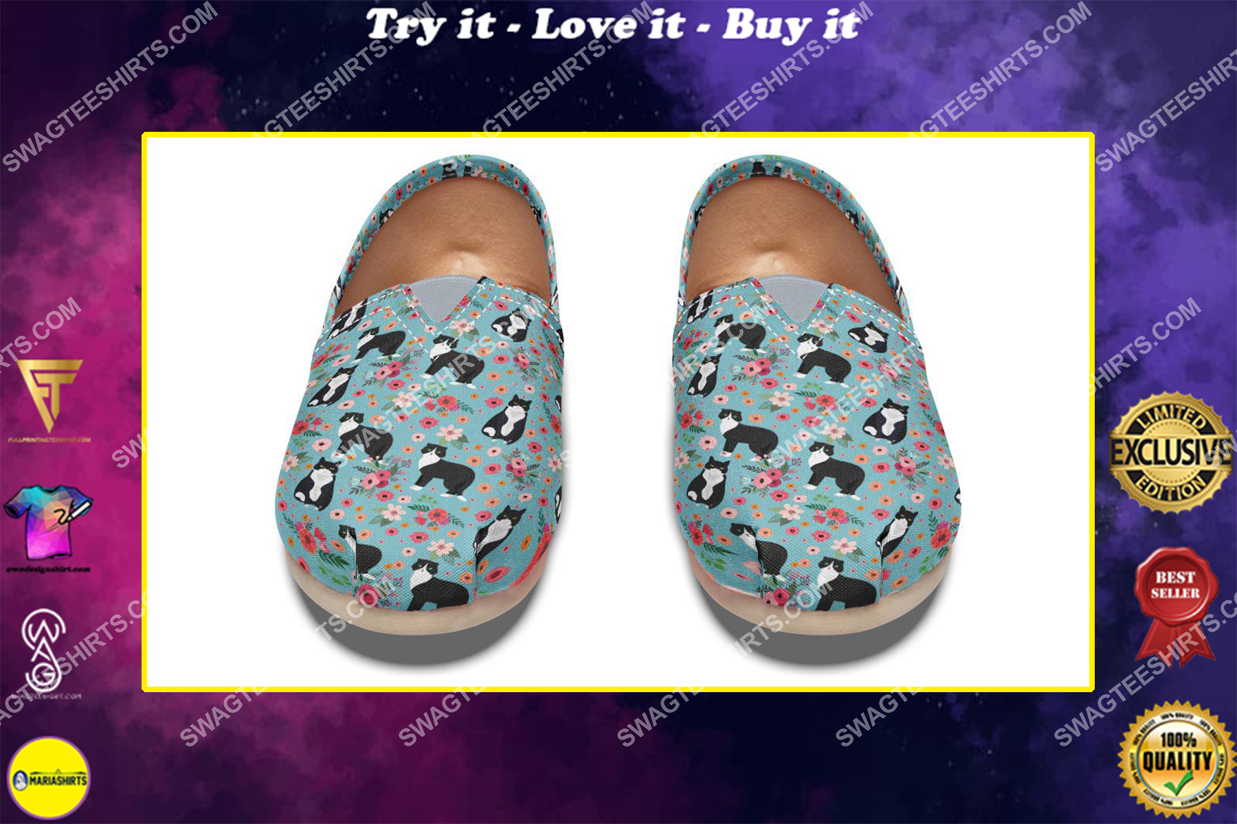floral black and white cats lover all over printed toms shoes