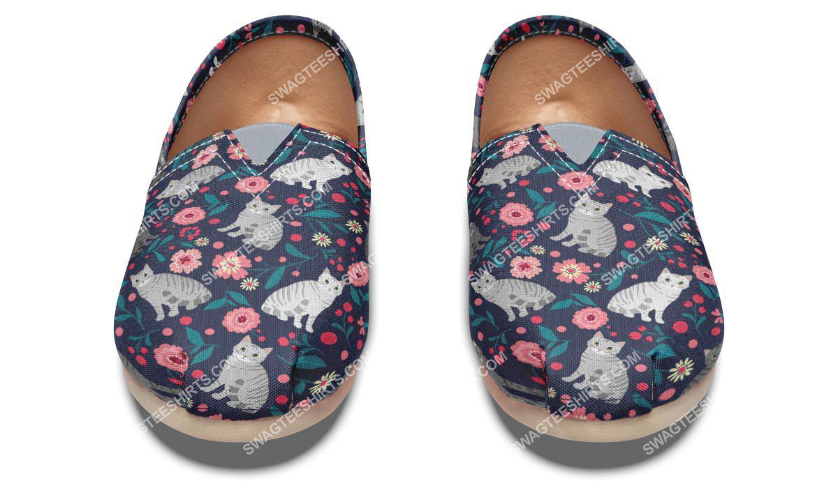 flower and american shorthair cats lover all over printed toms shoes 2(1)