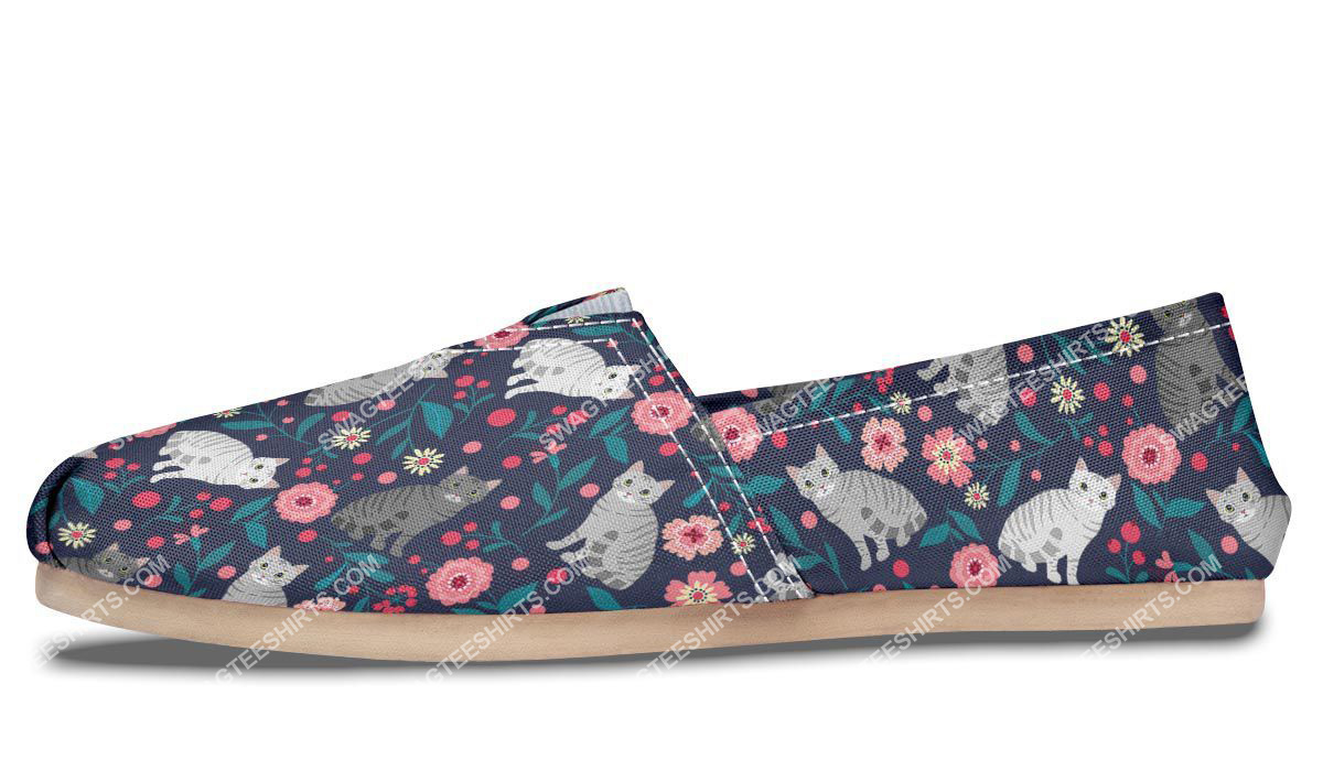 flower and american shorthair cats lover all over printed toms shoes 4(1)