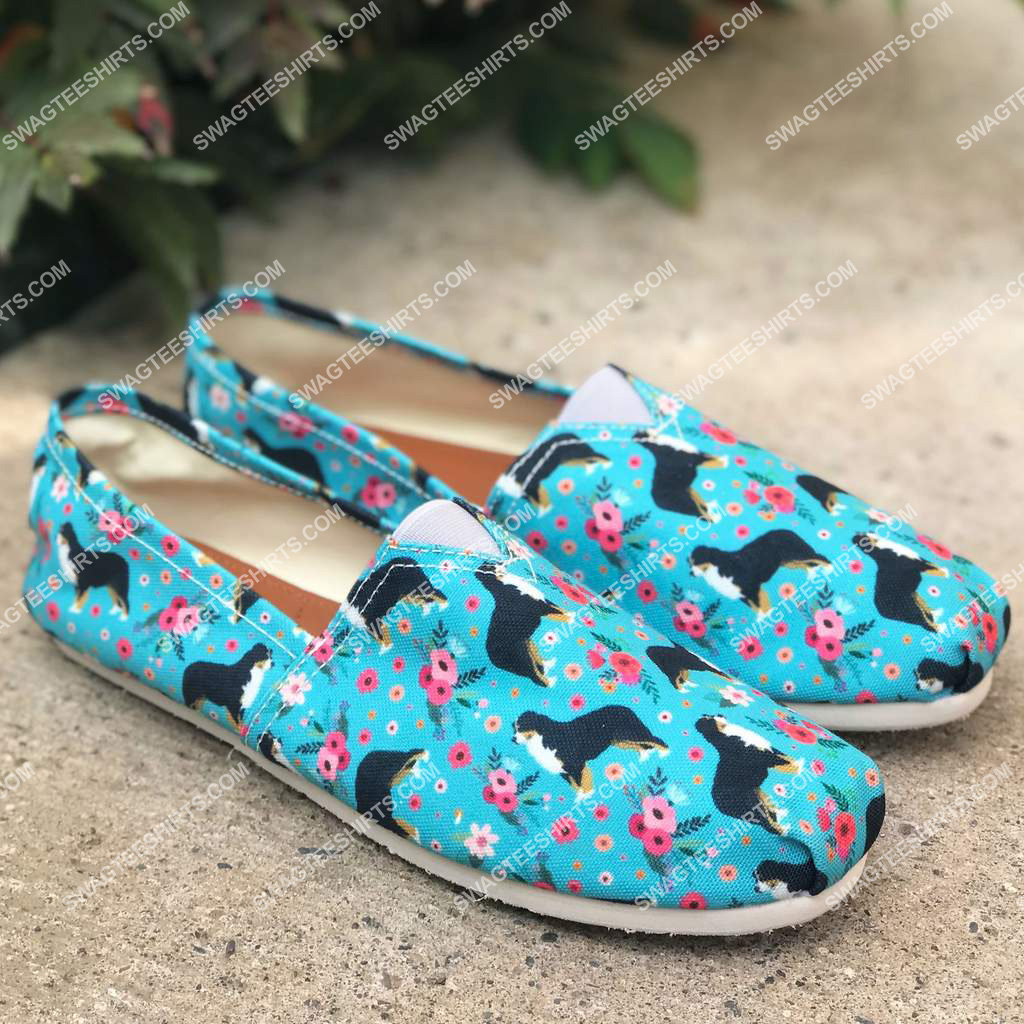 flower and bernese mountain dogs lover all over printed toms shoes 2(1)