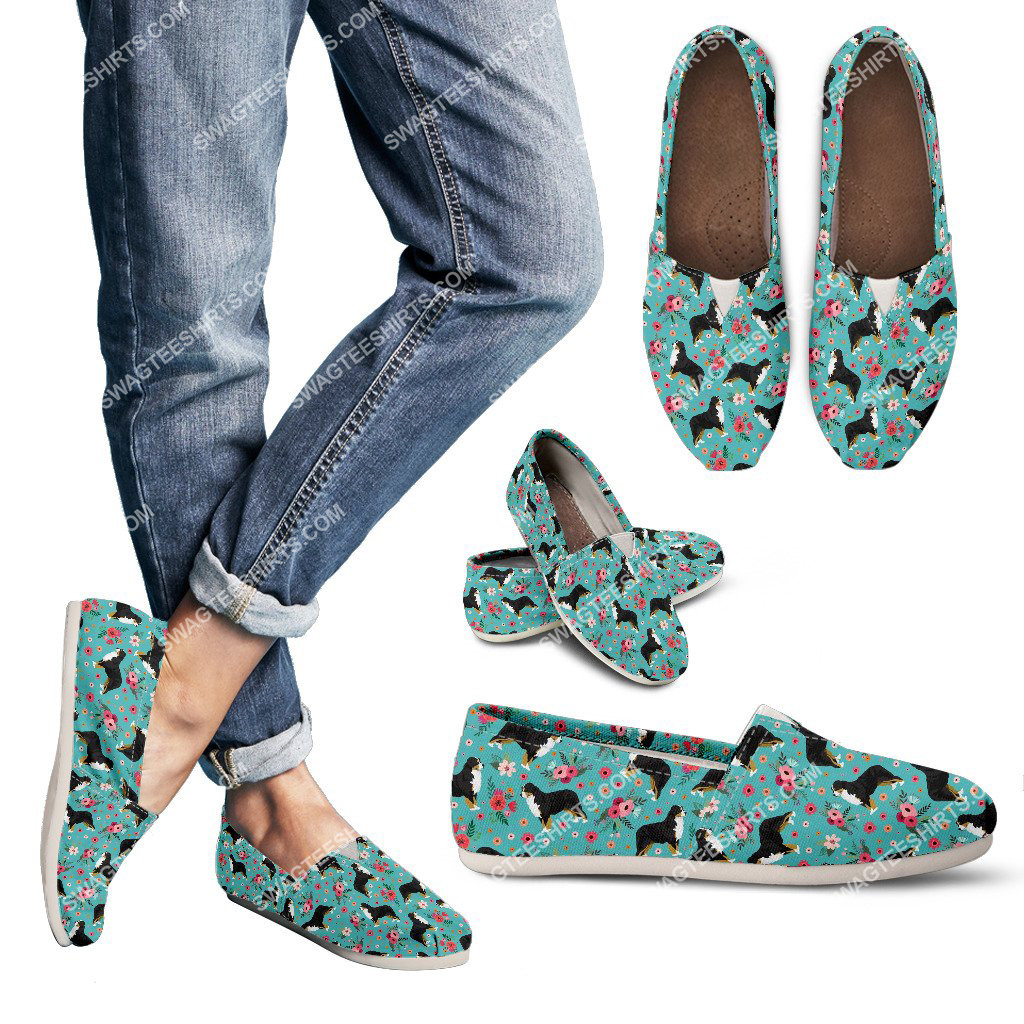 flower and bernese mountain dogs lover all over printed toms shoes 3(1)
