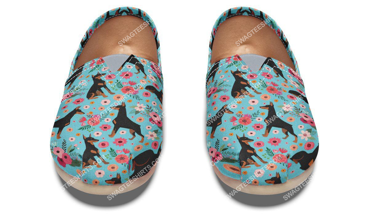 flower and dobermann dogs lover all over printed toms shoes 2(1)