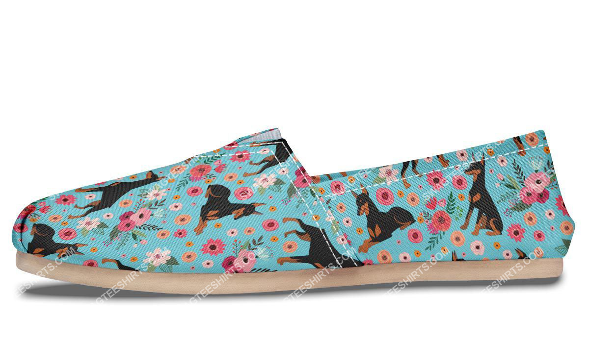 flower and dobermann dogs lover all over printed toms shoes 4(1)