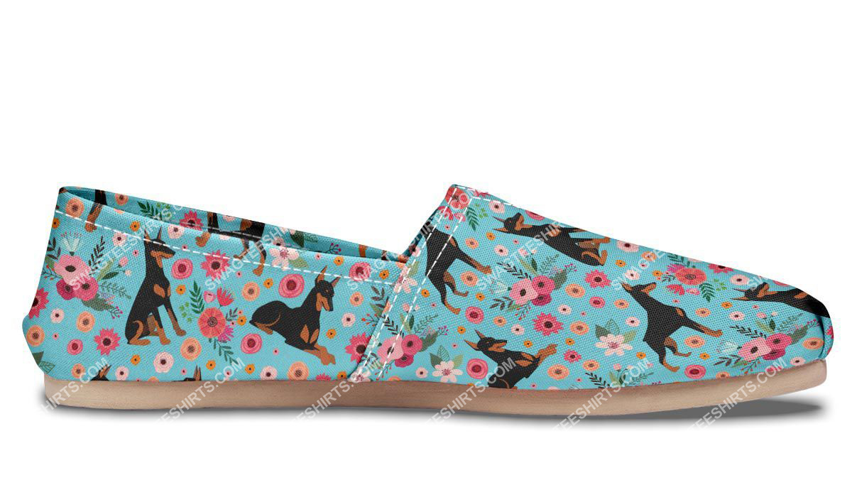 flower and dobermann dogs lover all over printed toms shoes 5(1)
