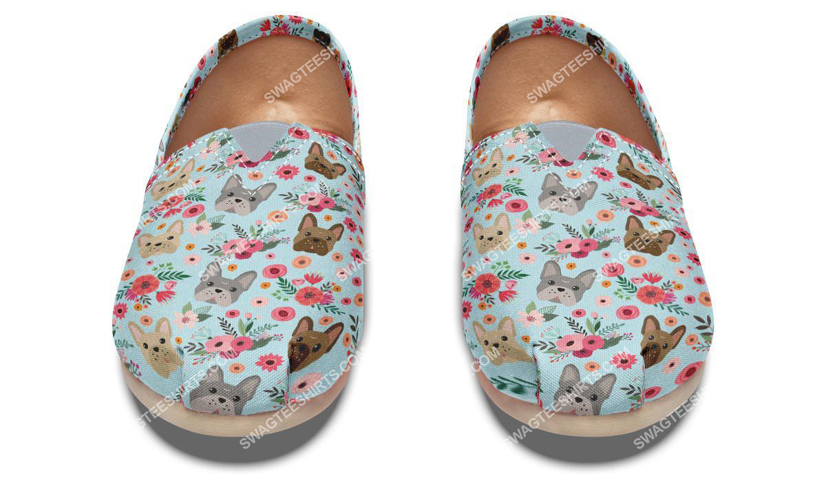flower and french bulldog dogs lover all over printed toms shoes 2(1)