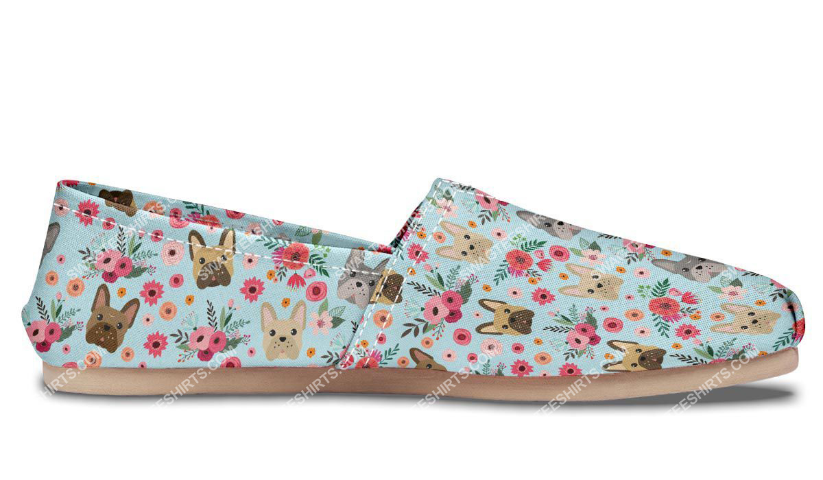 flower and french bulldog dogs lover all over printed toms shoes 4(1)