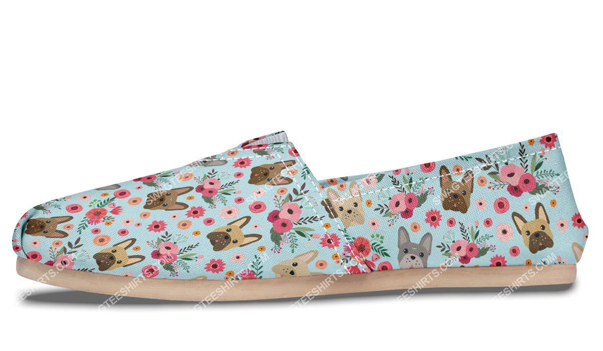 flower and french bulldog dogs lover all over printed toms shoes 5(1)
