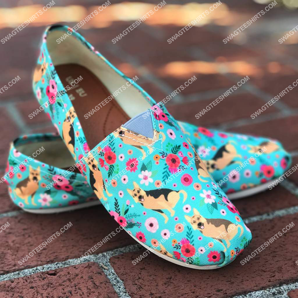 flower and german shepherd dogs lover all over printed toms shoes 2(1)