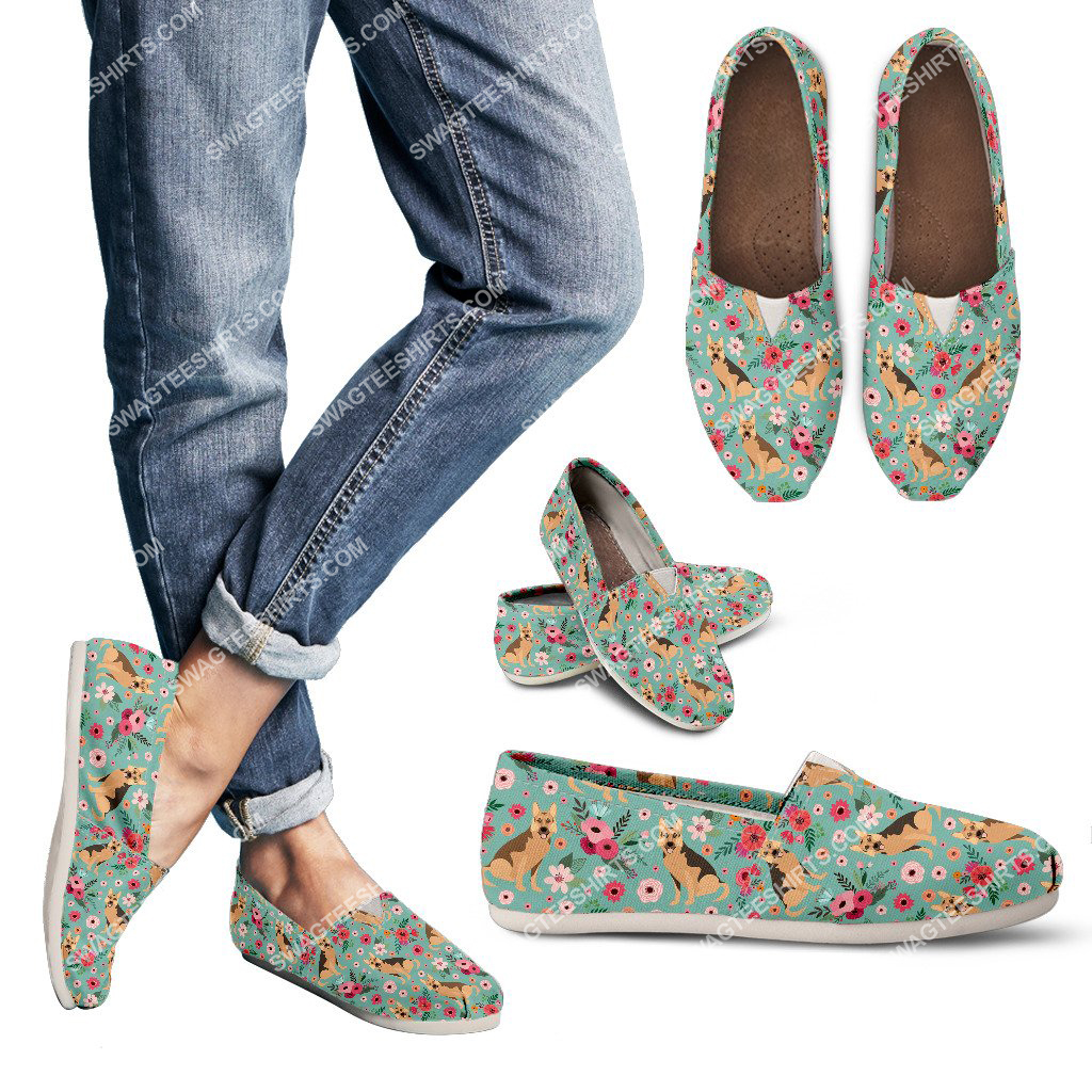 flower and german shepherd dogs lover all over printed toms shoes 3(1)