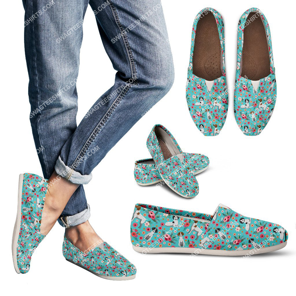 flower and german shorthaired pointer dogs lover all over printed toms shoes 3(1)