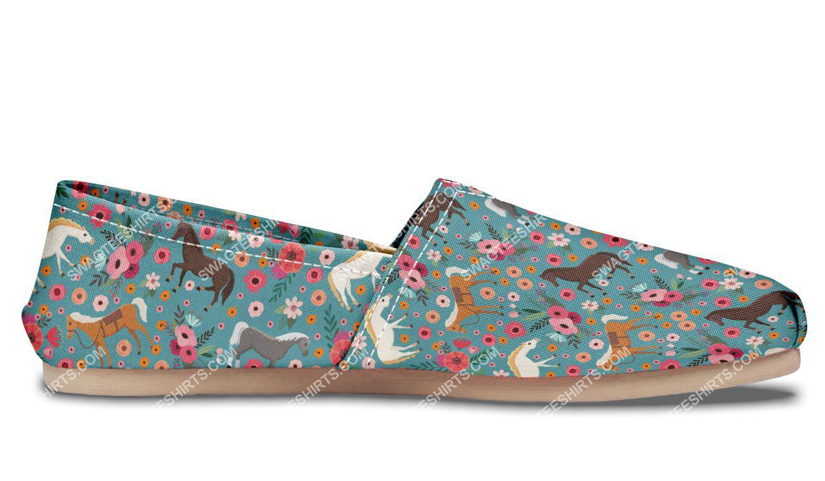 flower and horses lover all over printed toms shoes 5(1)