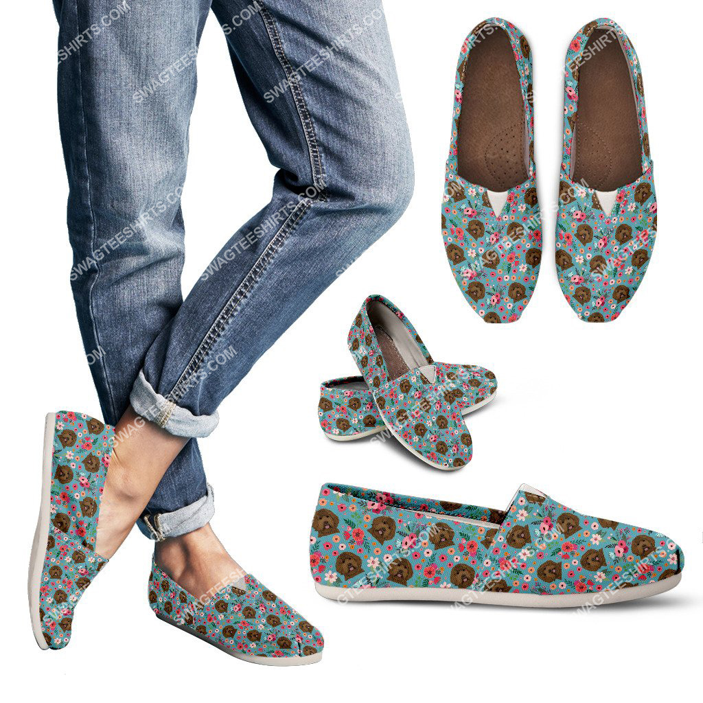 flower and labradoodle dogs lover all over printed toms shoes 3(1)
