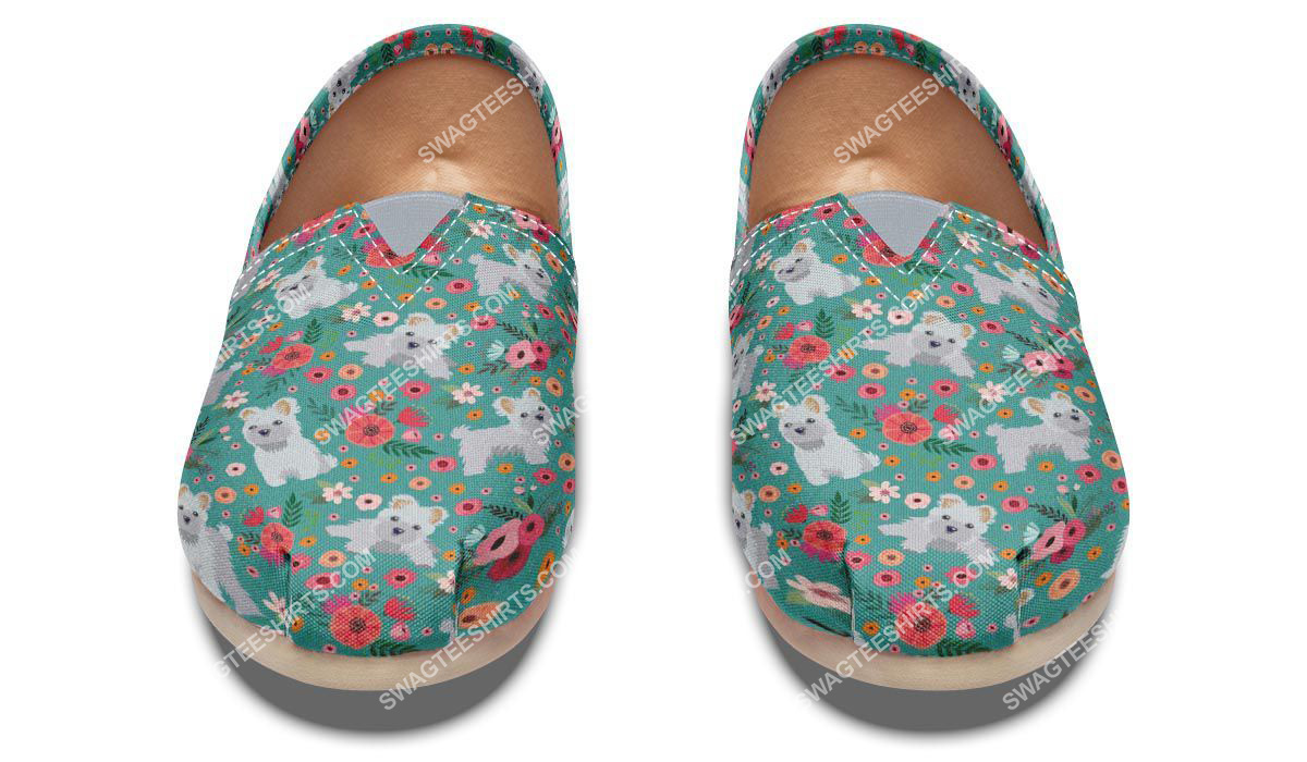 flower and maltese dogs lover all over printed toms shoes 2(1)