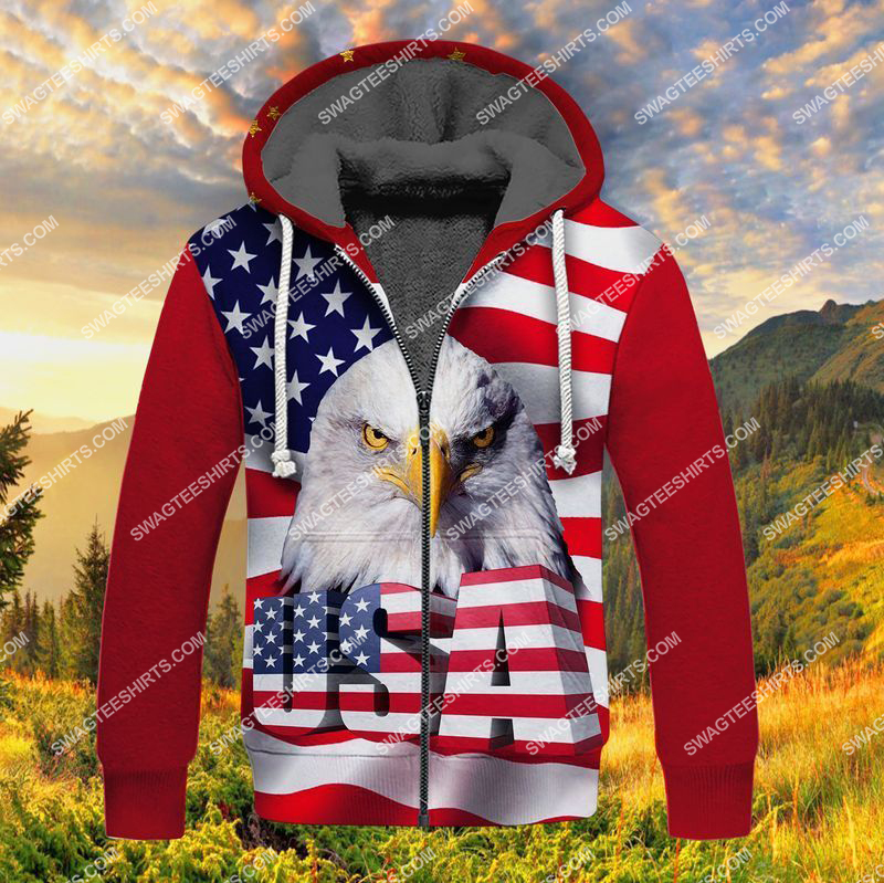 happy independence day God bless america full print fleece hoodie 1