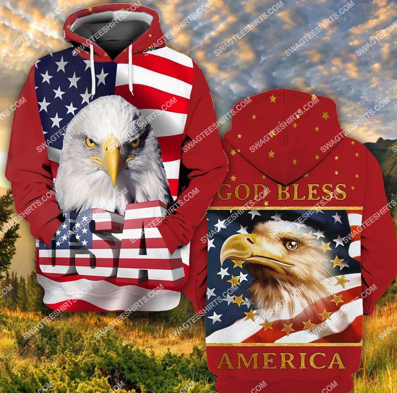 happy independence day God bless america full print hoodie 1