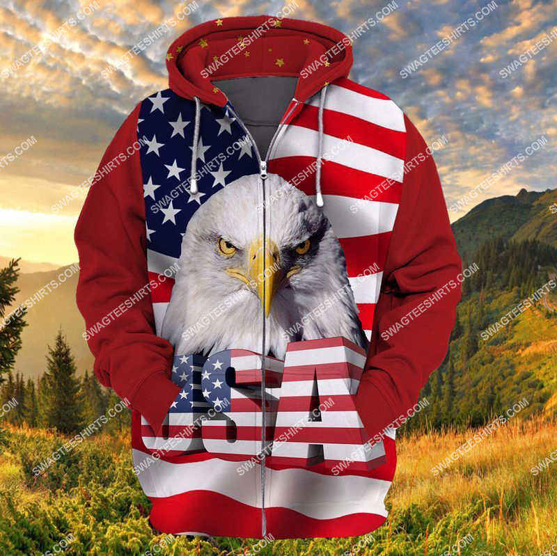 happy independence day God bless america full print zip hoodie 1