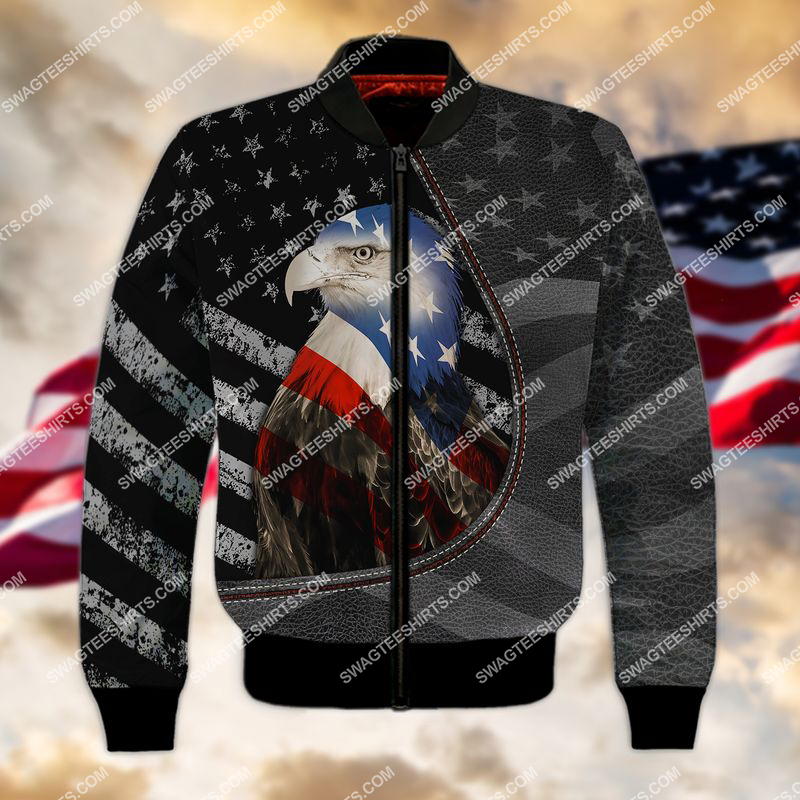 happy independence day american eagle flag full print bomber 1