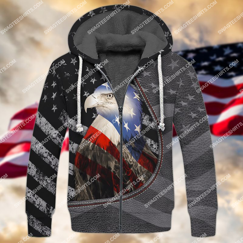 happy independence day american eagle flag full print fleece hoodie 1