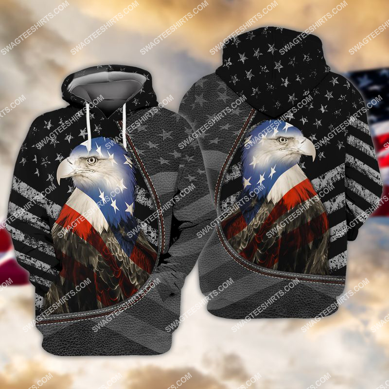 happy independence day american eagle flag full print hoodie 1