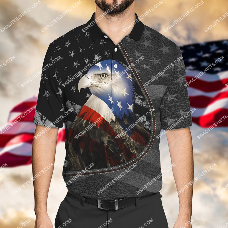 happy independence day american eagle flag full print polo shirt 1