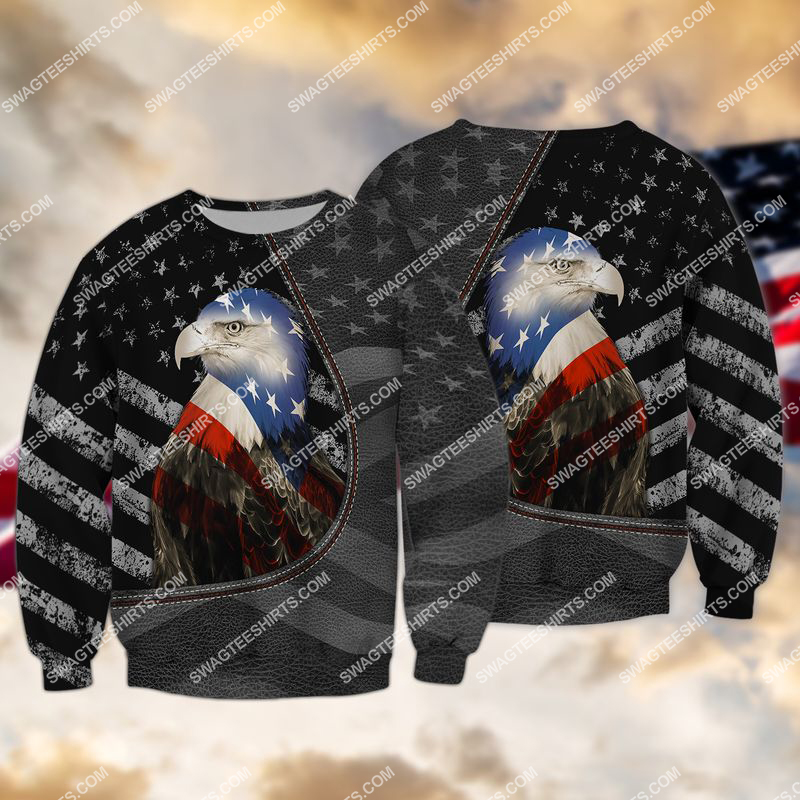 happy independence day american eagle flag full print sweatshirt 1