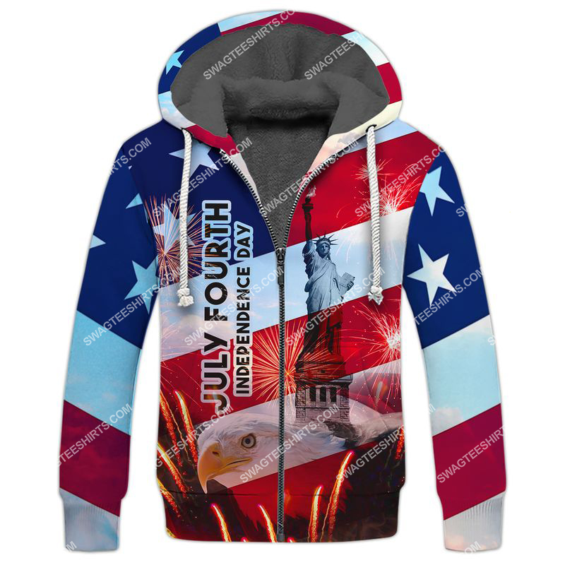 happy independence day united states full print fleece hoodie 1