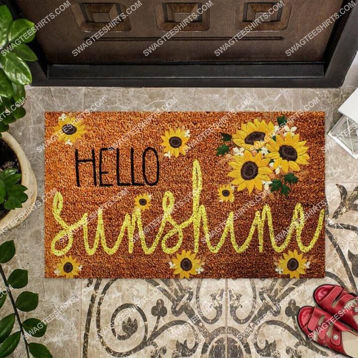 hello sunshine sunflower welcome full print doormat 2(1)