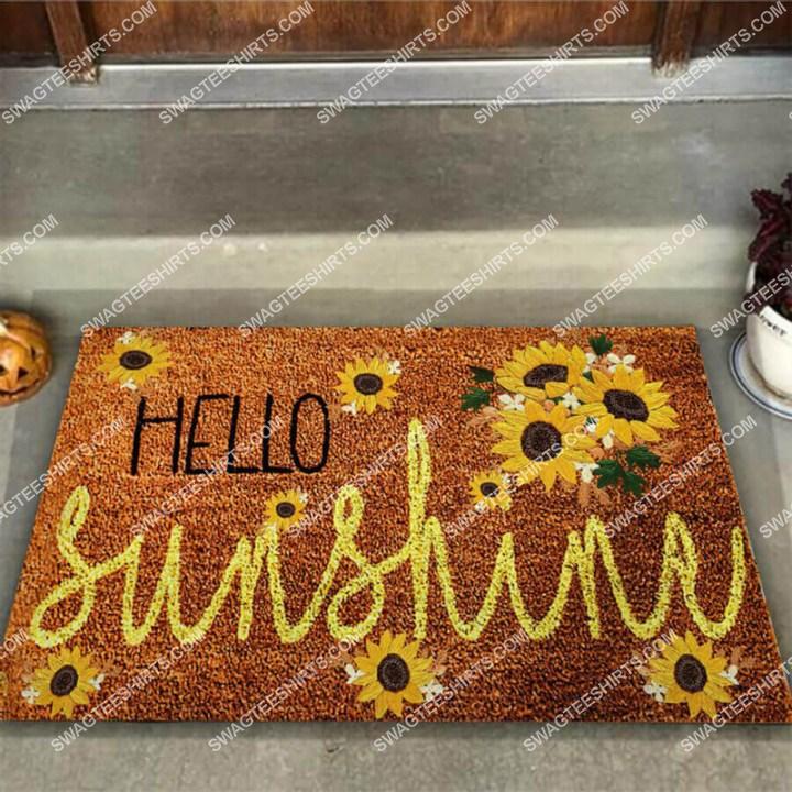 hello sunshine sunflower welcome full print doormat 3(1)