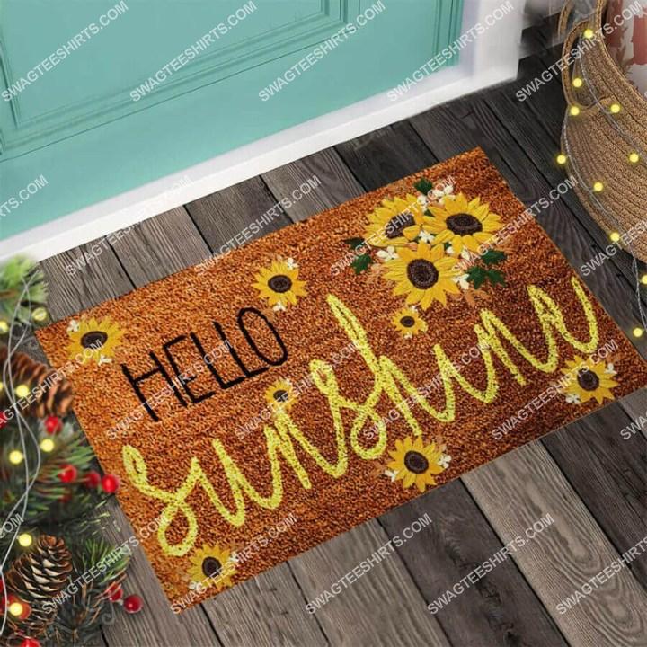 hello sunshine sunflower welcome full print doormat 4(1)