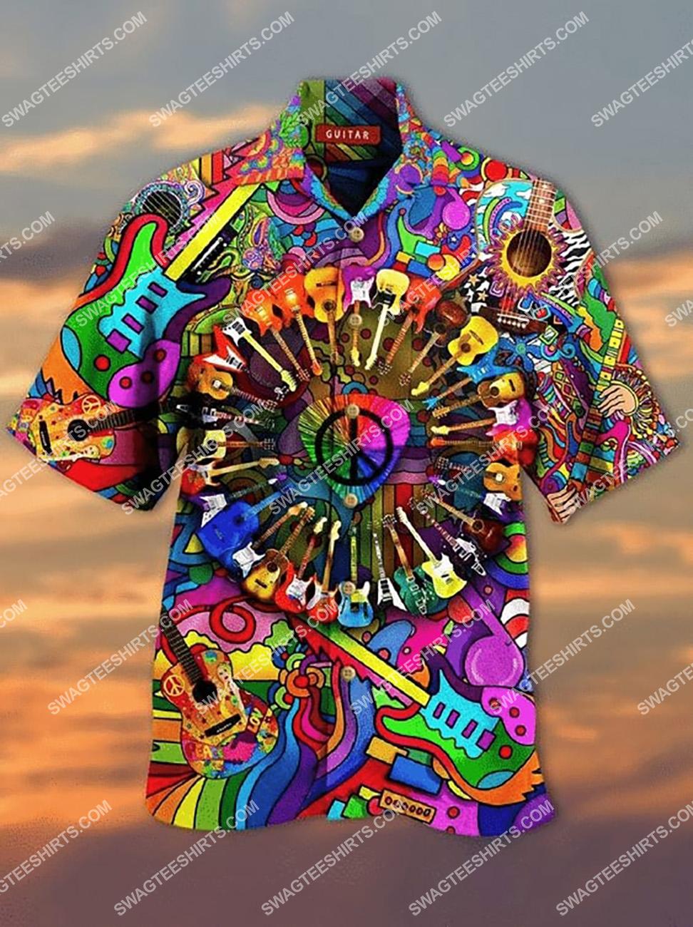hippie guitar colorful all over printed hawaiian shirt 1(1) - Copy