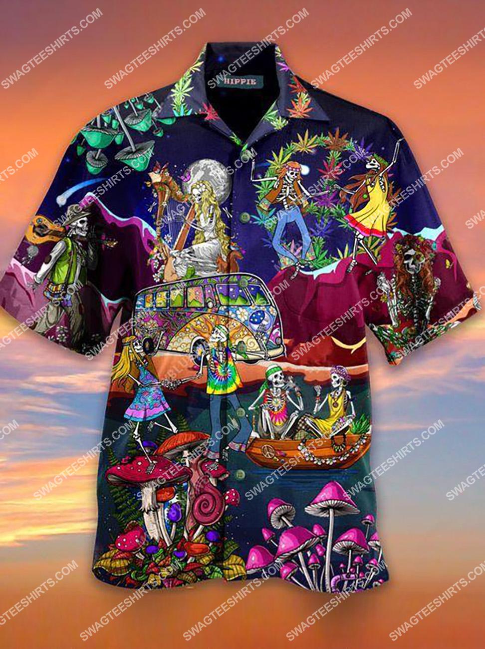 hippie lover skull all over printed hawaiian shirt 1(1)