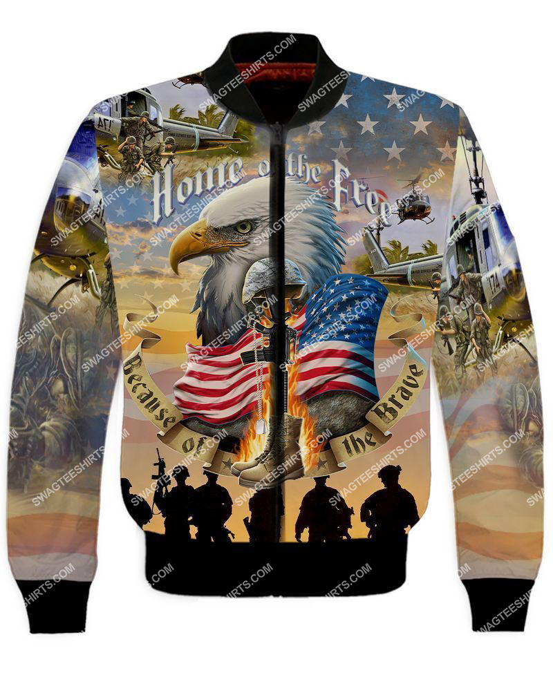 home of the free because of the brave full print bomber 1