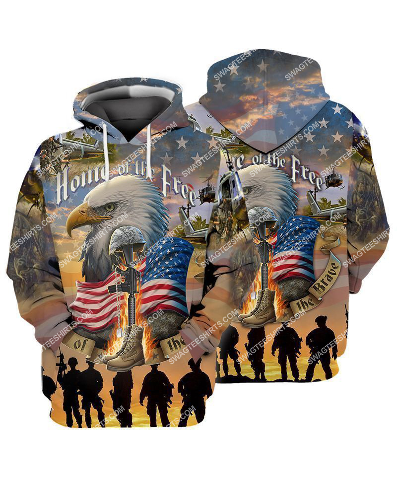 home of the free because of the brave full print hoodie 1