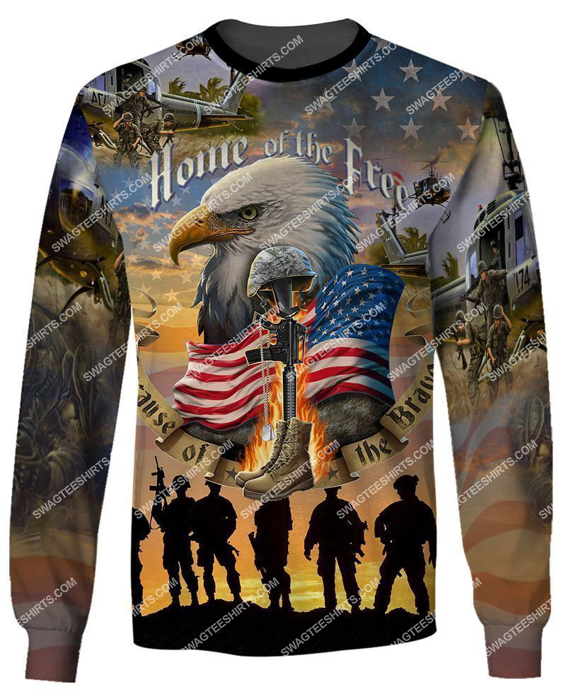 home of the free because of the brave full print sweatshirt 1