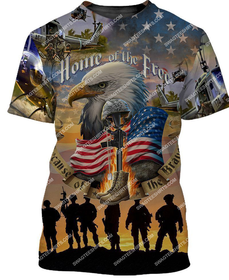 home of the free because of the brave full print tshirt 1