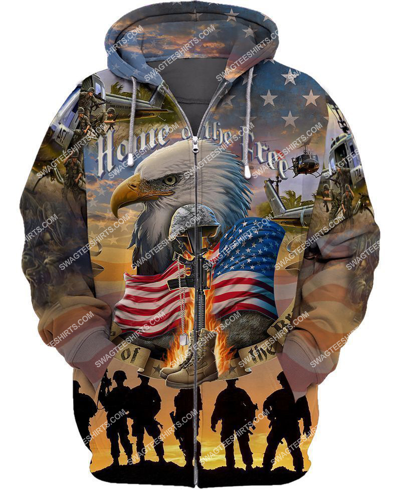 home of the free because of the brave full print zip hoodie 1