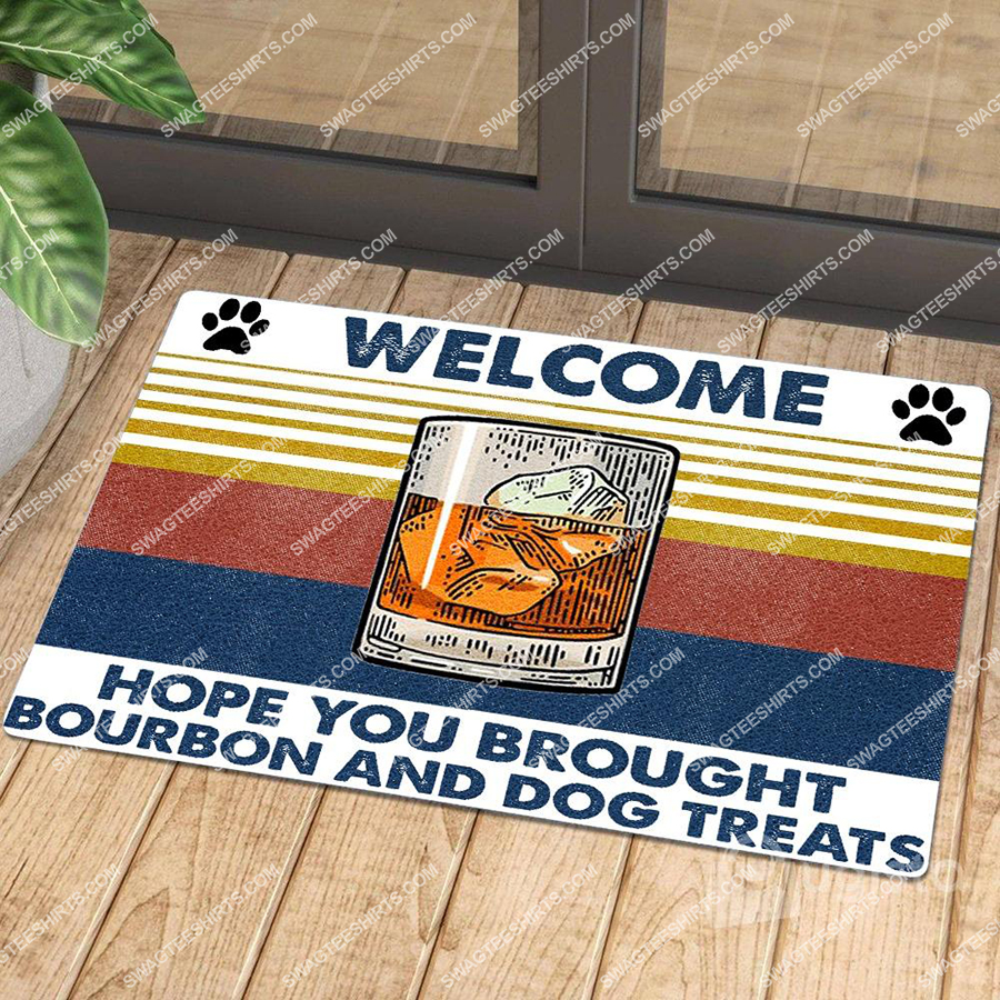 hope you brought bourbon and dog treats welcome full print doormat 2(1)